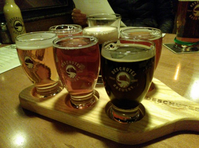 We stopped at my favorite brewery Deschutes Brewery, for a sampler and some dinner. There are many vegetarian and gluten free options here (including gluten free beer).
