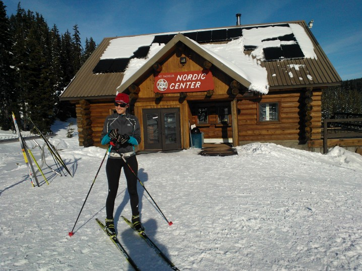 Alison in front of the Mt. Bachelor Nordic Center. Trail conditions were fast with warm weather the last two days of our stay.