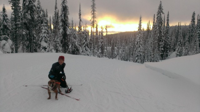 First time skiing with Duke.