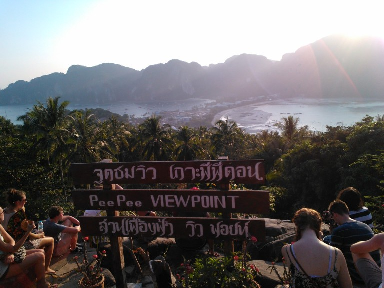 View from the hilltop lookout on Ko Phi Phi at sunset. It is worth the 30 minute hike up a steep trail and steps to get there.