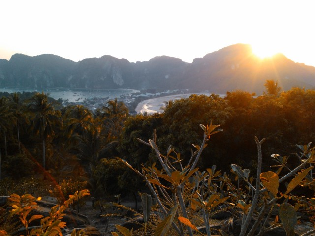 The view from the hilltop lookout, as the sun sets. You can see the twin bays of Ko Phi Phi, one where the boats come in, and another that is the main swimming beach.