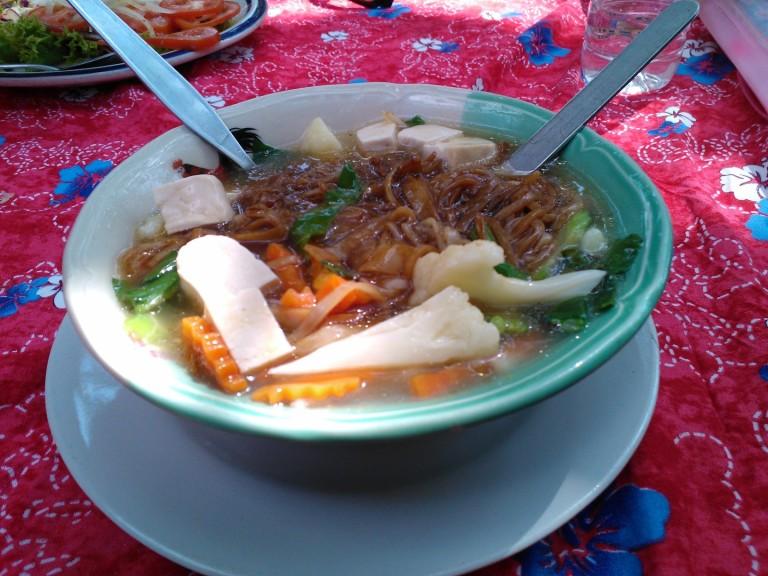 Veggie noodle soup on the beach!