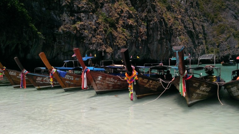 "Longboats parked on ""The Beach""."