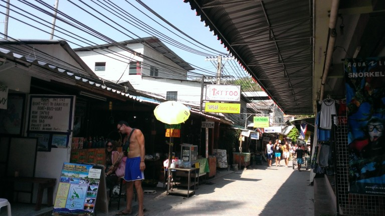 Narrow alleys on Ko Phi Phi. No cars allowed, just bikes or walking.