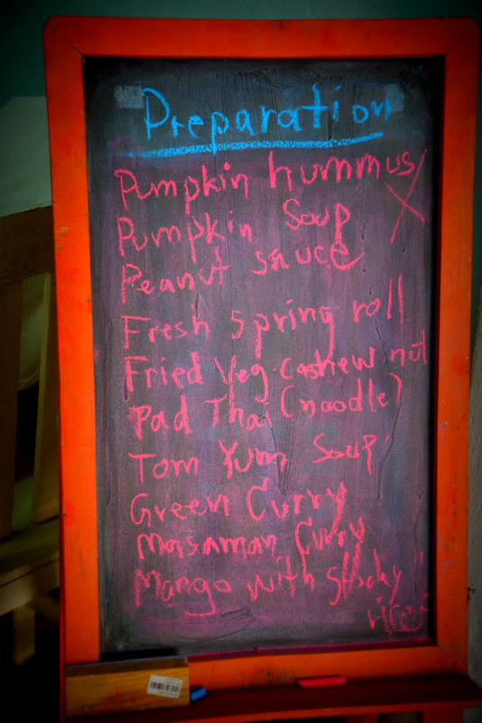 Our menu for the cooking lesson.