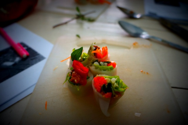 Final product from our cooking class-Fresh spring rolls.