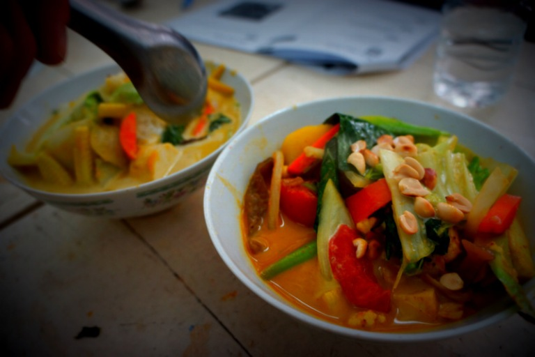 Tom Ka and Tom Yum from the cooking class.
