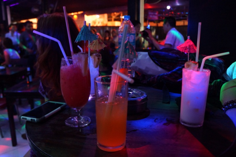Mandatory drink purchases at the Ladyboy show.  (Mine actually didn't have any alcohol in it)