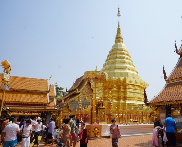 Doi Suthep Temple, the most famous temple located outside the city on top of a mountain.