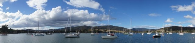 Boats on the Derwent river just outside Hobart.