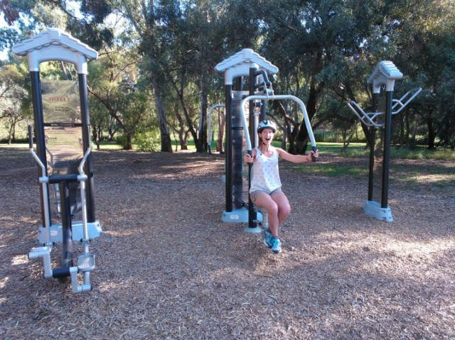 "This is what Alison and I call a ""fitness quest"". This is where random exercise equipment or stations are placed along bike paths or parks. We also check them out. This fitness quest was amazing and located right on the bike path."