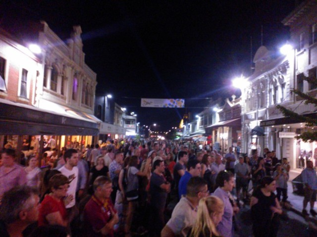 Big crowds in the town during the festival. The street was shut to traffic and there were performers everywhere.