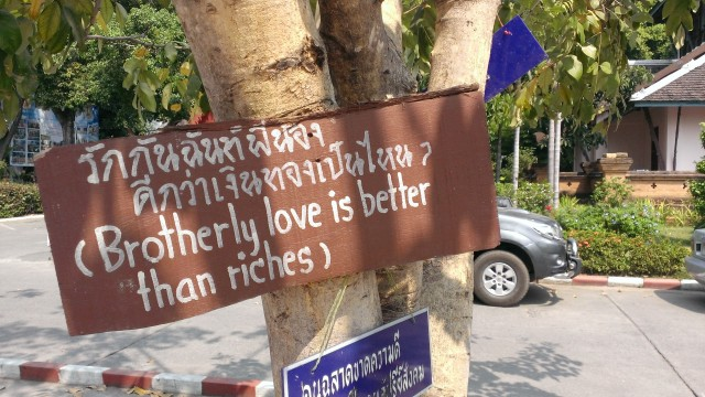Signs posted around the Buddhist University encouraging compassion and love.