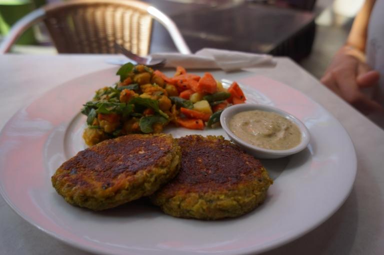 Falafel and tahini with salad at BeanGreen Cafe.