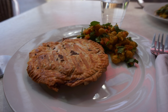 "Vegan savory ""pie"" filled with veggies at BeanGreen Cafe, a veggie place."