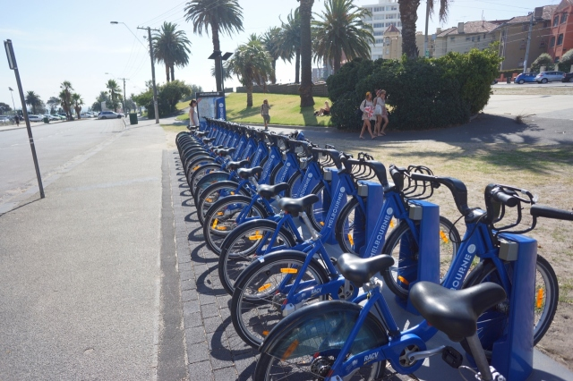Another fleet of City Bikes, right on the beach.