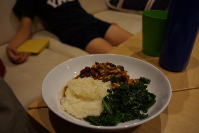 Vegan chili, kale and mashed cauliflower.