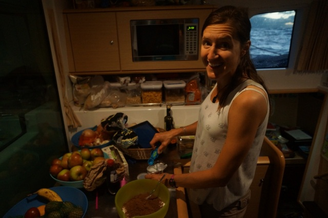 Alison making vegan brownies. She used coconut oil instead of butter, and just left out the eggs.