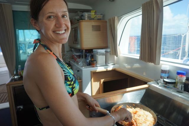 Alison making Vegan phad thai for everyone.