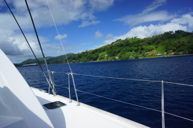Motoring over to a mooring further down the shoreline, from where we would spend the next several days.