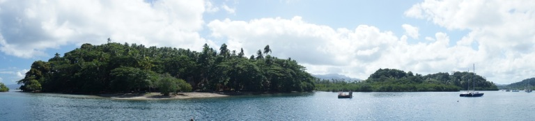 The small bay where we arrived and cleared customs in Fiji, at Savusavu..