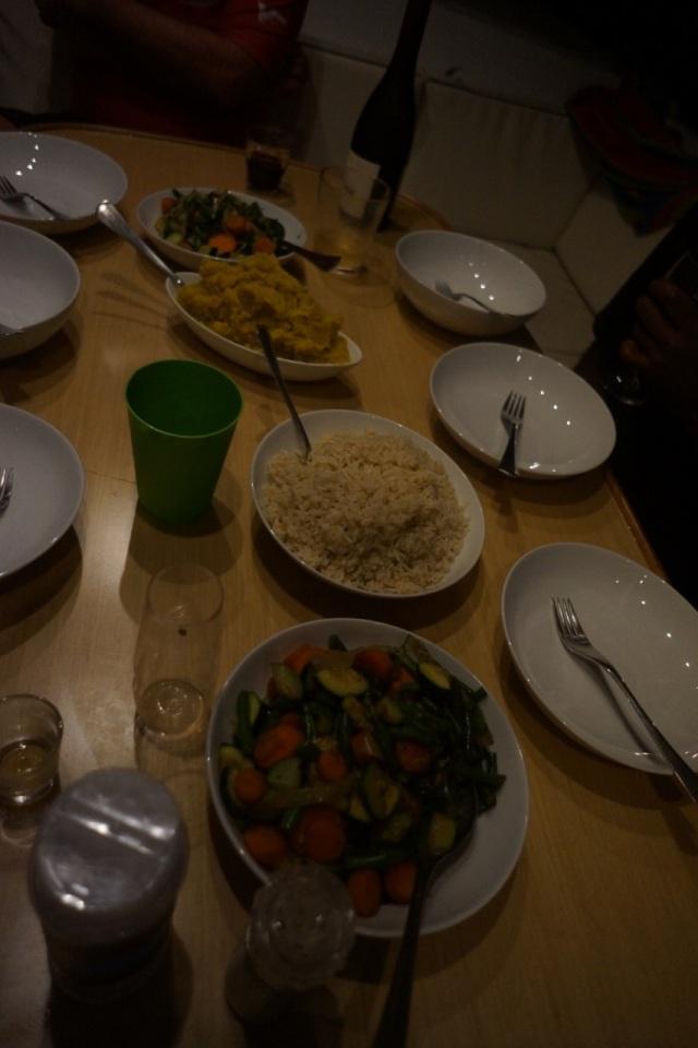 Cauliflower mashed potatoes, mashed kumara (squash), and garlic kale stri-fry.