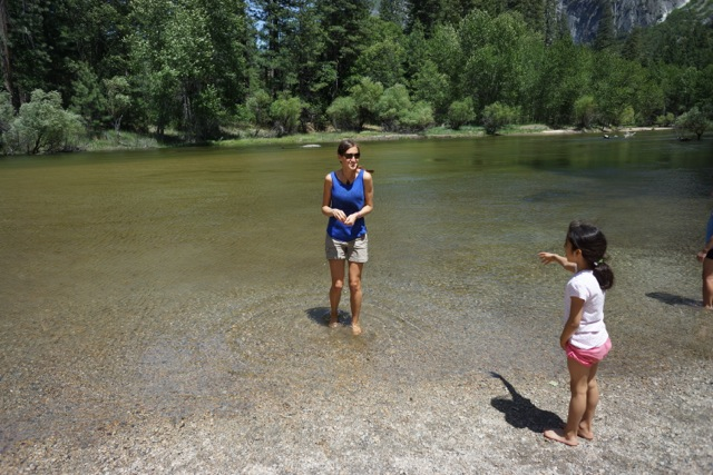 Mira telling me to get deeper into the water.