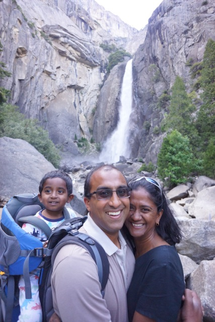Lower Yosemite Falls with Kumar, Lakshmy, and Aditya.