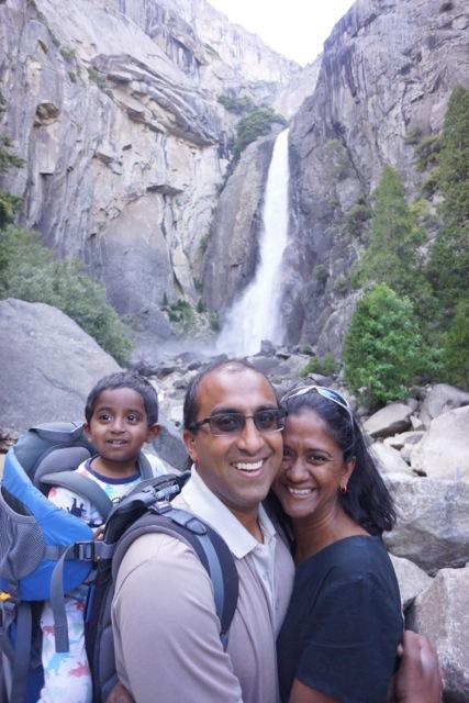 Lower Yosemite Falls with Kumar, Lakshmy, and Aditya.