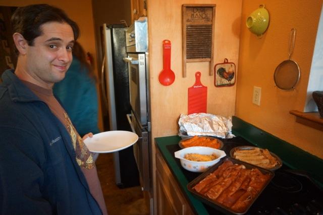 Josh gearing up for enchiladas.