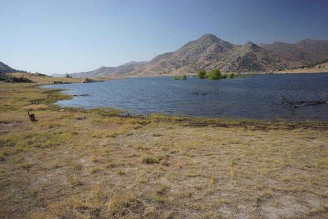 Lake Isabella....you can't see the pieces of track on the shore...it is very low given the drought CA is facing right now.