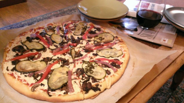 Delicious vegan pizza from Zaw in Seattle post baby hang out.