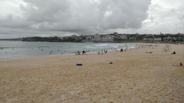 Gray clouds over Bondi Beach. Where did the sun go???
