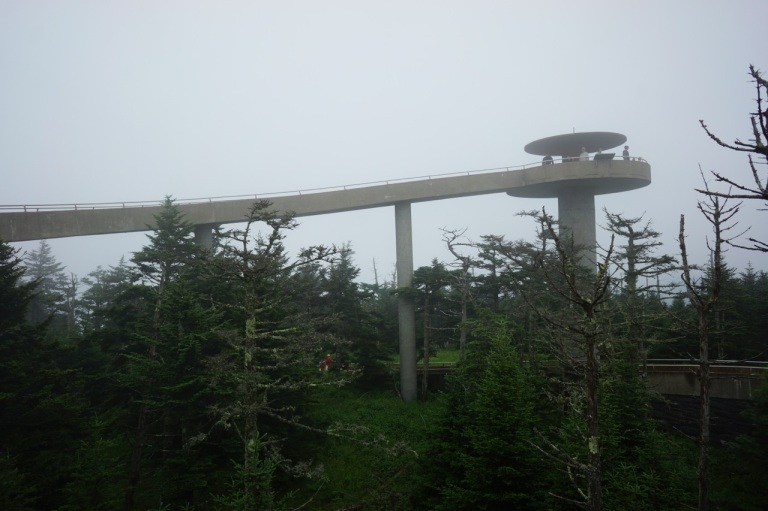 Clingman's Dome lookout tower at Great Smoky Mountain National Park.  Reminds me of the Jetson's.  When it's not socked in there is a great view.  It is the highest point in Tennessee.