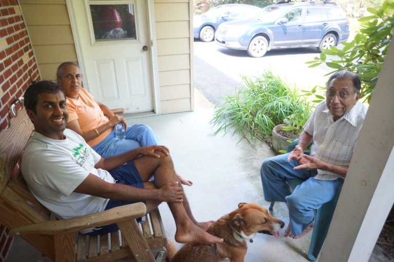 The front porch in Sayre, with my parents.