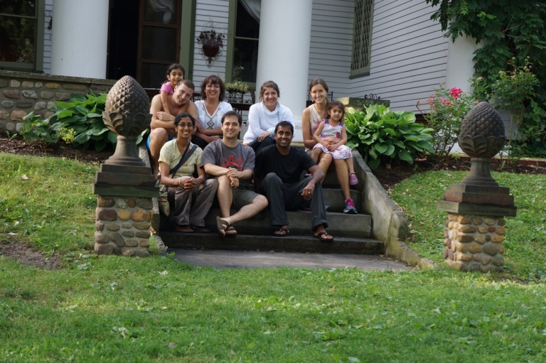 Alison and I with Josh's family...outside their home in upstate NY.