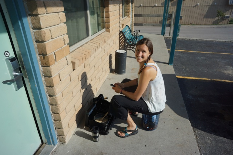 Alison cooking up some coffee outside of Motel 6 using our camping stove...deluxe!
