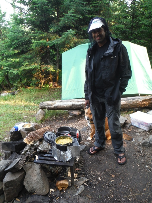 Making Dal at our first campsite.  We underestimated the amount of fuel we needed to cook and start the day with a hot cup of coffee, so we were hoping for good weather to make campfires.