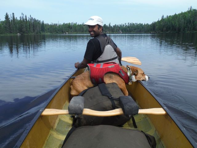 I thought this was Duke's most hilarious position in the canoe.