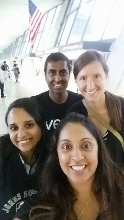 Alison and I with Jaya and Poorvaj (cousins) - at the airport. Poorvaj was on her way back to Delhi, India.