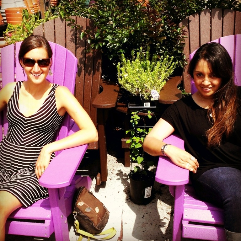 Jaya and Alison relaxing at a garden store in DC.