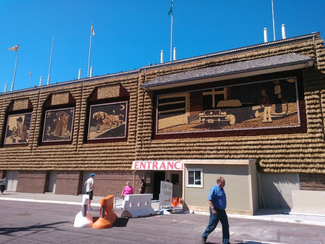 Yes, the entire facade and murals are made out of corn cobs...they are redone every year.
