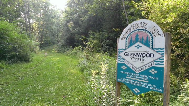The start/finish of our High School XC course in Waverly, NY...at the Waverly Glen.