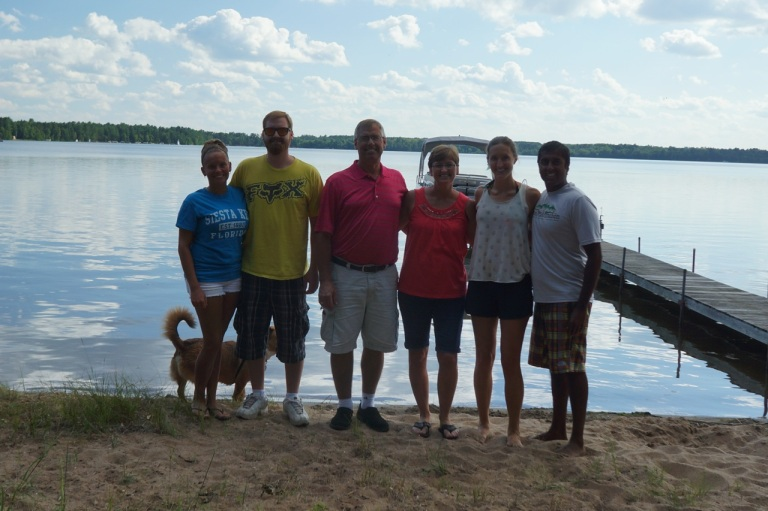 Family hanging out at the lake. Uncle Mike, Aunt Julie, Cousin Dustin, and Chelsea.
