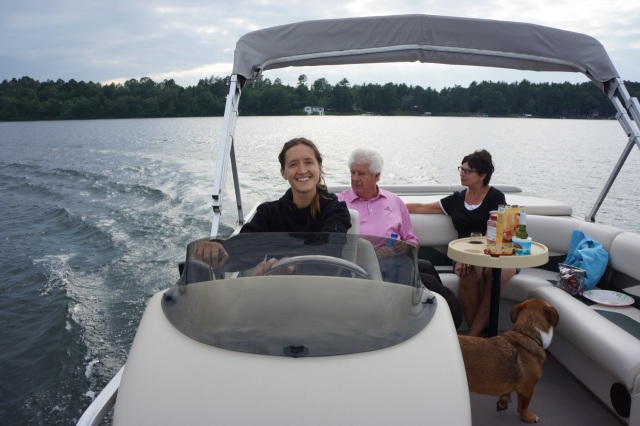 Captain Alison driving the boat.