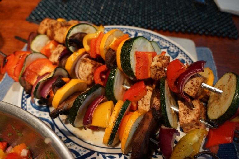 Veggie tofu shish kebabs.