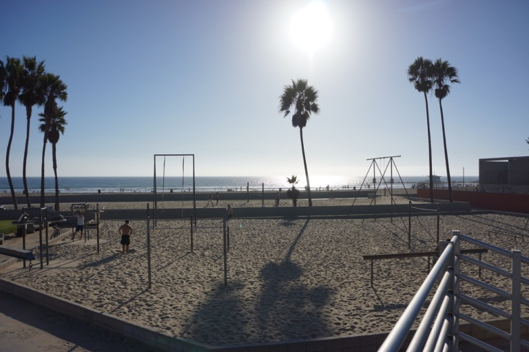 The outdoor adult jungle gym area at Venice Beach.