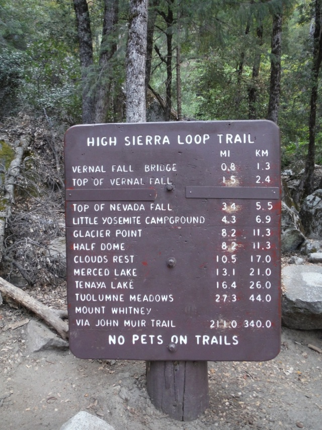 "Note the last row ""via John Muir Trail."""
