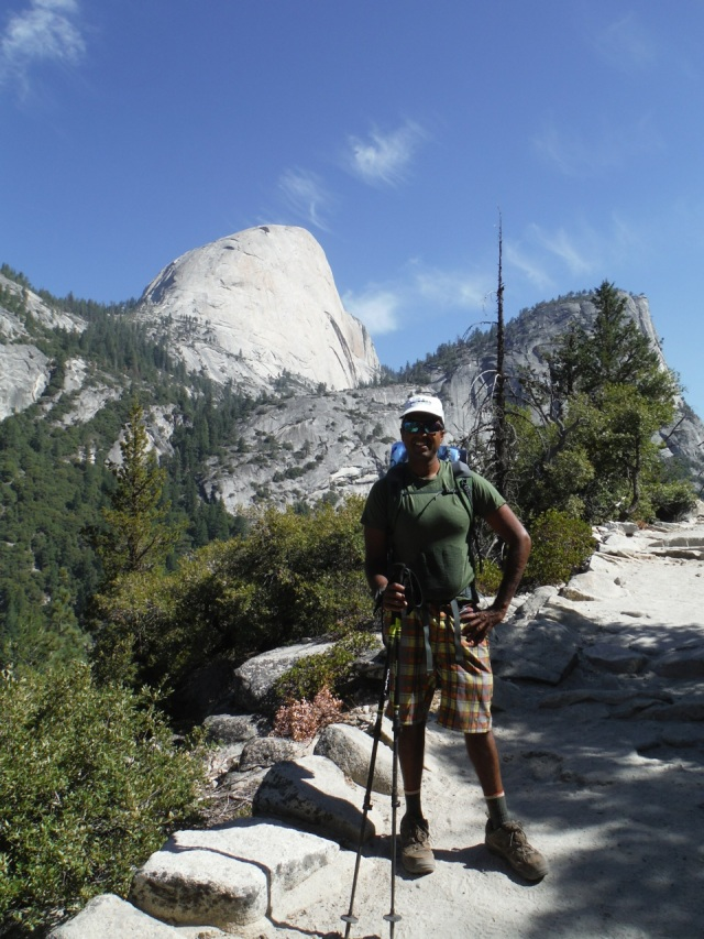 Half Dome in the background.  Day 1 of the hike.