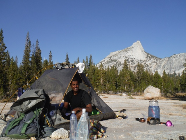 Chillin out at Cathedral Lake.  We made it out of the valley a day before they closed the trail due to a raging forest fire.